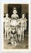 Beautiful Woman and Kids Girls in Dance or Circus Costumes Vintage 1940s Photo