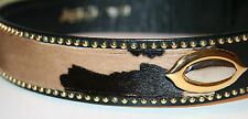 SALE Italian Horsehair Belt Black Leather Gold & Silver Studs 70/26 Small