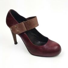 Joie LAYLA Size 41 Burgundy Red Leather Tan Strap Mary Jane Heels Shoes (US 11)