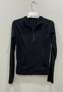 LULULEMON Women's Sleek Performance 1/2 Zip Hood Black Long Sleeve Size 6