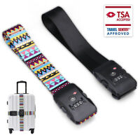Adjustable TSA Approved Combination Luggage Travel Strap Lock Bag Straps 3-dial