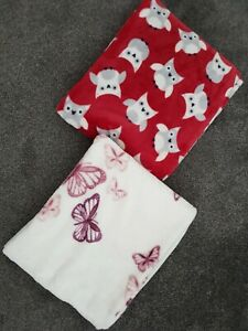 Primark Owl & Butterfly Velour Fleece Throw Blanket 120cm by 150cm x 2