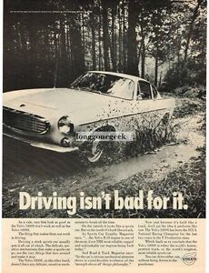 1968 Volvo White 1800S driving through mud VINTAGE Print Ad