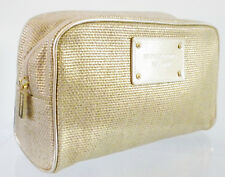 100 Authentic Michael Kors Gold Zippered Cosmetic Case Makeup Bag Brand New