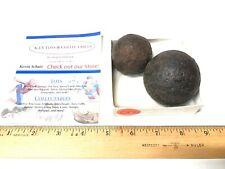 Genuine Original Antique Civil War Cannon Balls (2) Solid 2 inch & 1 inch
