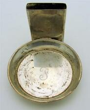 VINTAGE Sterling Silver Ashtray with Attached Match Holder - Engraved
