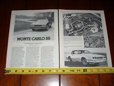 1984 CHEVROLET MONTE CARLO SS - SUPER SPORT - ORIGINAL 1984 ARTICLE
