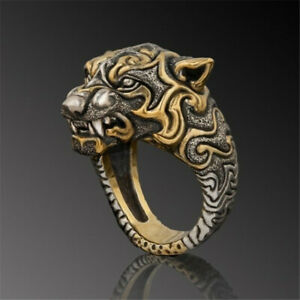 Cool Men's Two-tone Leopard Head Ring Party Jewelry Punk Hip Hop Ring Male Gift