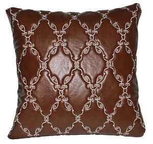 pj07a Reddish Brown Diamond Faux Leather Emboridered Foam Backing Cushion Cover