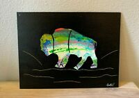 "Buffalo Painting Hand Painted Original Artwork Acrylic on Canvas 9X12"" inches"