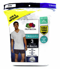 3 White Tall Man XLT 46-48 Inch V-Neck T-Shirts Fruit Of The Loom 117-122 CM