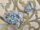 ANTIQUE 10K WHITE GOLD ENAMEL ORDER OF THE EASTERN STAR CONNECTED LAPEL PIN SET