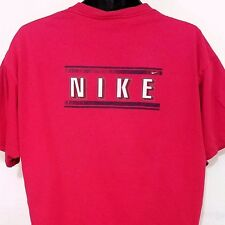 Nike Mens T Shirt Vintage 90s White Tag Distressed Made In USA Faded Red Large