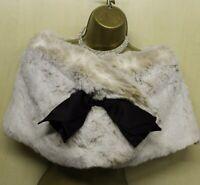 2 UK 8-10 Stunning KAREN MILLEN Broen Shrug Bolero Cape Wrap Cardigan-Faux Fur