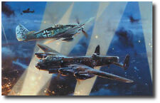 No Turning Back  by Robert Taylor - Lancaster - Fw190 - Military Aviation Art