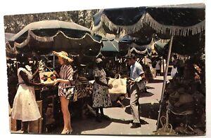 Straw market, Nassau, Bahamas, vintage postcard