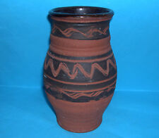Studio Pottery - Handsome Natural Look Vase With Deep Scored Abstract Pattern.