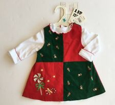 NWT Youngland 6-9 Months Candy Cane Red & Green Corduroy Christmas Jumper Dress