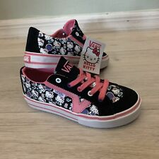 NEW VANS Tory Hello Kitty Black Pink White Young Girls Size 12.5