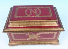 Lrg Vintage Florentine Toleware Napoleon Gilt Wood Box Casket Chest Italy Gesso