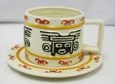 Vintage 1996 Clay Art Hand Painted AZTEC Coffee Cappuccino Cup & Saucer