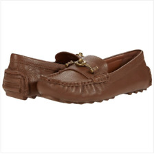 New Coach Crosby Turnlock Pebbled Saddle Driver Moccasins Sz 8.5 $195.00 Free Sh