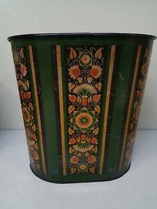 Vintage Decoware Trash Can Waste basket Floral MCM Metal mid century Black