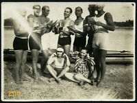 strong boys singing on riverside, swimsuit, funny, Vintage Photograph, mandolin