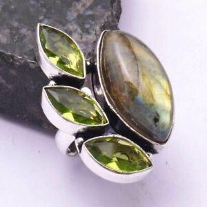 Labradorite Peridot Ethnic Handmade Ring Jewelry US Size-6.75 AR 42372