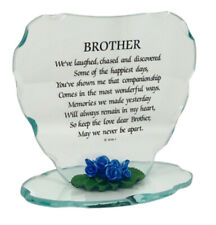 Glass Heart Plaque Cute Gift for Brother Beautiful Poem & Porcelain Flower Frame