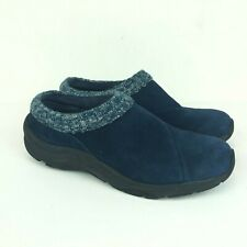Vionic Arbor Womens Blue Suede Leather Knit Comfort Slip-On Clogs Mules Size 7