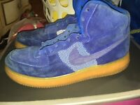 Nike Air Force 1 one High LV8  Blue Suede/Gum 806403-400 size 12