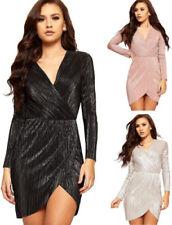 V-Neck Solid Dresses for Women with Slit