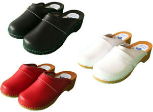 Women's Hand Made Clogs Ladies Wooden Sole 100% Natural Leather Upper Size 3 - 8