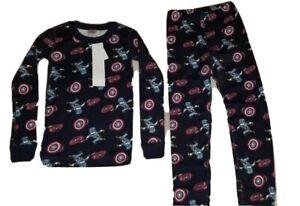 NWT Hanna Andersson x Marvel Comics Captain America 2 piece Pajamas Set Size 6-7