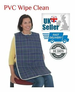 Adult Mealtime Bib Clothes Protector Washable Wipe Clean PVC Full Size