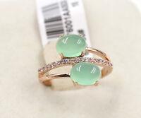 Wedding Engagement Ice Emerald Green Rose Gold  simulated diamond Ring size 8