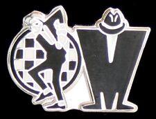 DANCING SKA MAN/MADNESS BLACK M ENAMEL PIN BADGE