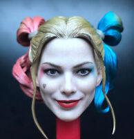 Custom 1/6 Quinn Clown Girl Joker Female Head Carving PVC Sculpt Model F/HT Toy