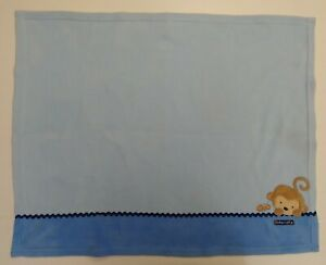 Child of Mine Carter's Baby Blanket Blue Fleece Monkey Ant Ric Rac Snuggly