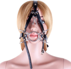 FST Metal Spider Ring Gag with Head Slave Harness Nose Hook Flirting Mouth Ga...