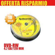 DVD-RW RISCRIVIBILI 4,7 GB 4.7 120Min 4x CAMPANA DA 10 PEZZI AONE CONFEZIONE