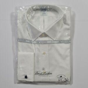 Brooks Brothers Men's White Non-Iron Long Sleeves Regular Fit Shirt M L / XL