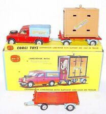 Corgi Toys 1:43 CHIPPERFIELDS CIRCUS LAND ROVER & ELEPHANT CAGE TRAILER Boxed`62