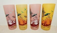 4 Vtg Barware Glasses Frosted Southern Belle Sweet Ice Tea Anchor Hocking