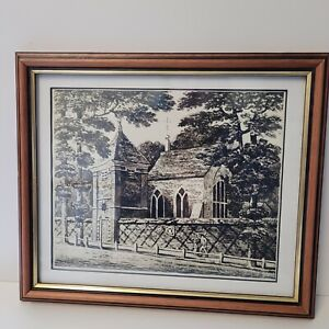 Old Drawing Of A Church Framed- ART - PENCIL DRAWING. PROFESSIONALLY FRAMED
