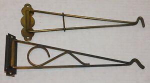 2 Vintage all Metal Wall Mount Swivel Swing Arm Hanging Plant Hooks