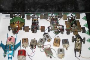 LARGE LOT OF 6 COX FERRET REVELL ETC CHASSIS AND 9 MOTORS