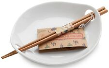 Sabichi White Porcelain Rice Dish With Bamboo Reusable Chopsticks