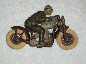 1930's Cast Iron Hubley Harley Davidson Motorcycle Hill Climber Racer No. 2